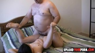 Asian chick gets fucked by white fat dude